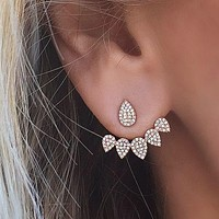Crystal Front Back Double Sided Stud Earrings