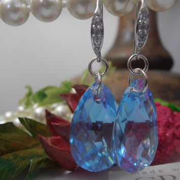 Aquamarine Blue 22mm Swarovski Tear Drop Crystals in a 925 Sterling Silver setting Dangle Earrings, Bridal Earrings Hook Earrings