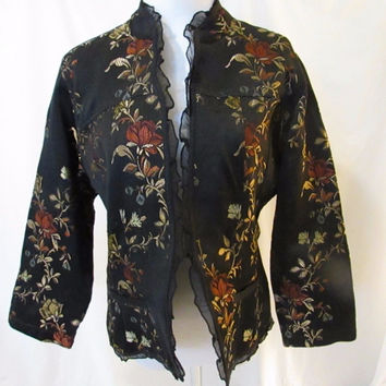 Chico's Tapestry Look Jacket Floral Light Weight