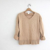 Vintage cotton knit sweater. buff nude vneck sweater. basic sweater.