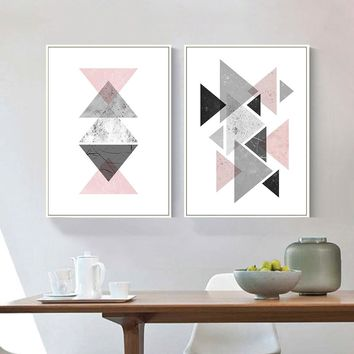 Geometric Triangles Abstract Canvas Posters and Prints Minimalist Wall Art Painting Decorative Picture Modern Home Decoration