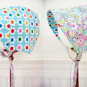 Reversible baby bonnet baby girl bonnet reversible sunbonnet baby shower gift new baby gift sun bonnet daisies size NB to 18 months