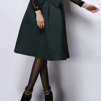 Green Quilted Midi Skirt
