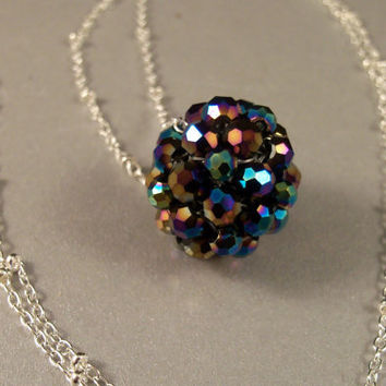 Navy Blue Floating Crystal Ball Necklace by Suzjewelry on Etsy