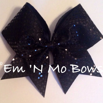 "3"" Black Sequins Cheer Bow"