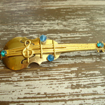 Vintage Cello or Violin Brooch, Gold Tone Musical Instrument Pin, Blue Rhinestones, Mid Century Jewelry, Collectible Estate Find
