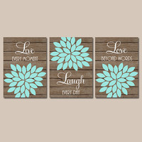 Live Laugh Love Wall Art, Bathroom Artwork, Baby Girl Nursery Wall Art, Girl Bedroom Canvas or Prints Set of 3 Bedroom Artwork, Crib Decor