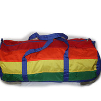 Vintage Duffle Bag Large Rainbow Colors Tote Overnight Bag Duffle Gym Bag