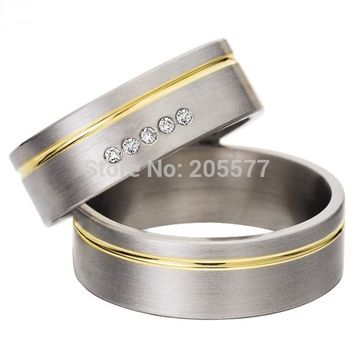 cheap western mens and womens cz diamonds pure titanium his and hers engagement wedding bands couples rings sets titan trauringe