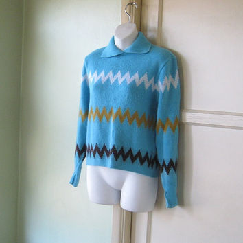 Zig-Zag Stripe Turquoise Polo Collar Pullover - Medium Large Vintage Ski Sweater - '70s Euro-Preppy Pullover - Turquoise Jumper Polo