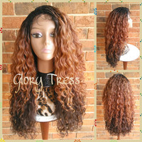 Ready To Ship // Beyonce Inspired Hairstyle, Micro Braided Lace Front Wig, Long Kinky Curly Hand-Braided Wig, Ombre Blonde Wig // PLENTIFUL