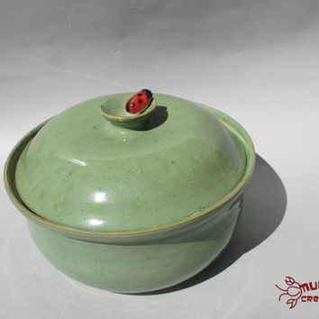 Ladybug Bean Pot - Ceramic, Green