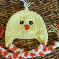 Crochet Newborn Baby Chick Hat, Yellow Easter Baby Photo Prop Earflap Hat, Spring Baby Shower Gift