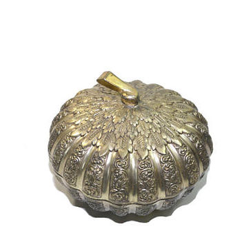 Vintage Silver Plated Candy Dish Silver Pumpkin Box Silver Pumpkin Gourd Dish Fall Decor