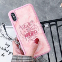 KENZO New fashion marbled tiger head protector couple mobile phone shell soft shell Pink