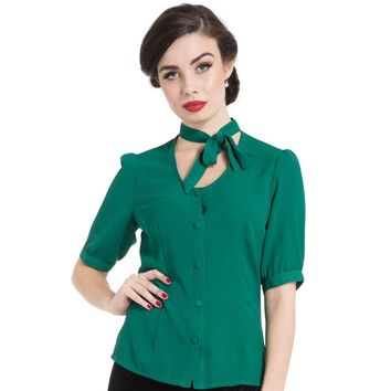 Clara Neck Bow Button Down Green