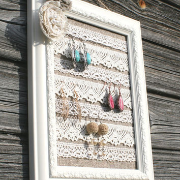Shabby chic earring display, Lace jewelry organizer, Shabby chic linen earring holder, Rustic Jewelry organizer, Vintage Jewelry display