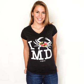 I Crab Maryland (Black) / Ladies V-Neck Shirt