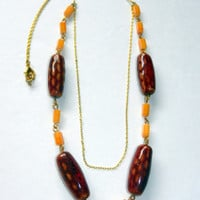 Orange, Brown and Gold Double Strand Necklace