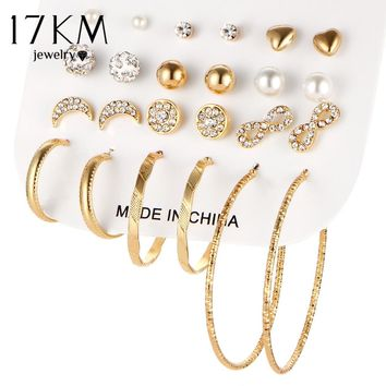 17KM Fashion Crystal Infinite Earrings Set For Women Bijoux Simulated Pearl Ball Big Circle Wedding Earring Statement Jewelry