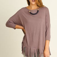 UMGEE 3/4 sleeve rayon oversized top with fringe details