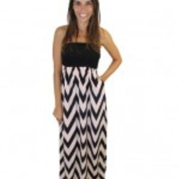 Black and Peach Strapless Chevron Dress with Pockets
