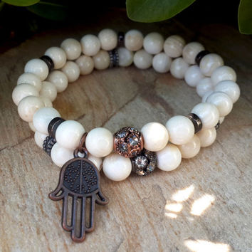 Prayer Hamsa Hand Wrist Mala Yoga Bracelet Set, Sea Shell, Charming Design Copper Hamsa, Bling, Mens, Womens, Protection, FREE SHIPPING