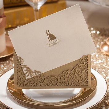 1pcs Sample Gold Laser Cut Wedding Invitation Cards with Envelope & Seal