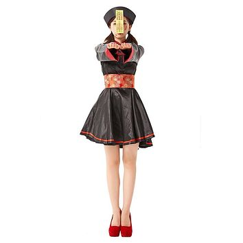 Women Halloween Walking Dead Costumes Female Chinese Zombie Cosplay Carnival Nightclub Bar Role Play Party Dress