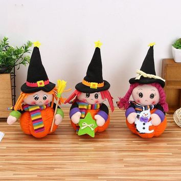 Halloween Table Decoration Cute Pumpkin Girls Dolls Kids Children Plush Toys Christmas Birthday Gift Featival Events Supplies