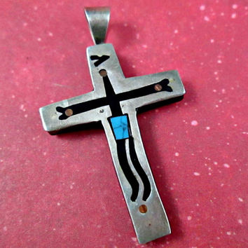 Unique Awesome Vintage Cross Crucifix Taxco Mexico Eagle Mark 3 925 Sterling Silver Inlaid Stones Mid Century Fascinating Intriguing Design