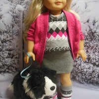 "American girl doll clothes ""A Pink and Gray Kind of Day""  18 inch doll outfit  winter ensemble OOAK Hot pink & gray 123 Mulberry St Pattern"