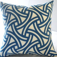 Blue geometric interlocking circle pillow cover, FABRIC BOTH SIDES, all sizes available