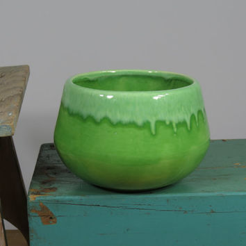 California Pottery Drip Glaze Lime Green Planter Pot USA Mid Century