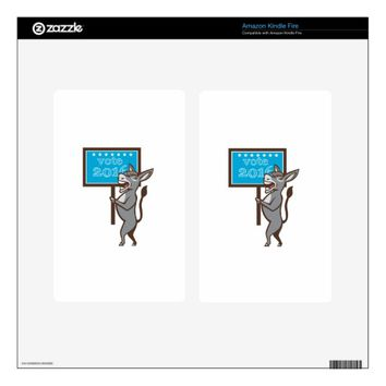 Vote 2016 Democrat Donkey Mascot Cartoon Skin For Kindle Fire
