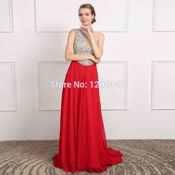 Real Photos Evening Dress Beaded High Neck Sleeveless Floor Length Formal Evening Gowns Red Chiffon A Line Prom Dresses