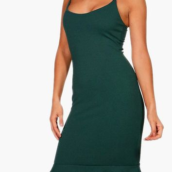 Joanna Strappy Layered Flute Hem Midi Dress | Boohoo