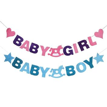 Hanging Baby Girl or Boy Banners: Birthday, Gender Announcement, or Baby Shower Party Decoration