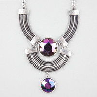 Full Tilt 3 Row Iridescent Stone Statement Necklace Silver One Size For Women 24593814001