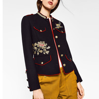 ZA Floral Flowers Birds Embroidery Epaulet Jacket Military Pockets Button Personality Cool Slim Coat Mandarin Collar Outerwear
