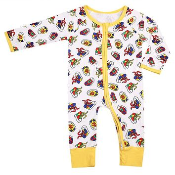 Baby Clothing Newborn Cute Baby Boys Girls Romper Floral Long Sleeve Zipper Jumpsuit Outfits