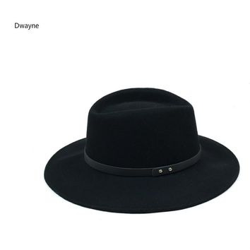 European Classic Red Black Jazz Hat Pure Australian Wool Felt Pillbox Belt Fedora Top Hat Large Brim Winter Autumn Women Men Hat