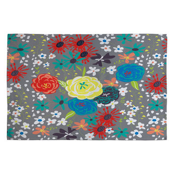 Vy La Bloomimg Love Gray Woven Rug