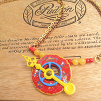 Spinning Arrow Necklace, Yellow & Red Jewelry, Hand Painted, Kinetic Jewelry, Moving Arrow, Spring Floral Print