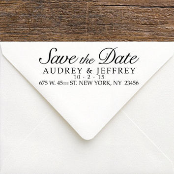 Save The Date Stamp - Calligraphy Wedding Address Stamp - Self Inking, Rubber Return Address Stamp for Stationery, Invitations, Thank You's