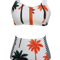 Palm Tree Pattern Multicolor High Waisted Two Piece Bikini