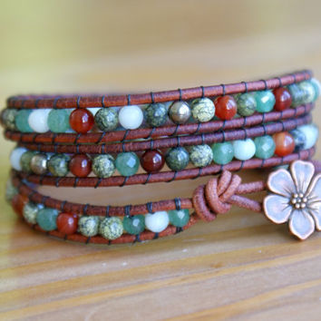 Multicolor beaded gemstone leather bracelet, triple wrap, Bohemian, flower, trendy jewelry, boho bracelet, bronze, hipster, gift idea, SALE