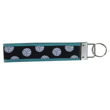 Girls Volleyball Wristlet Keychain- Teal