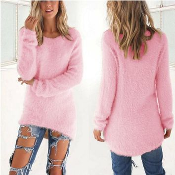 Candy Colored Long Sleeve Knitted Pullover Sweater