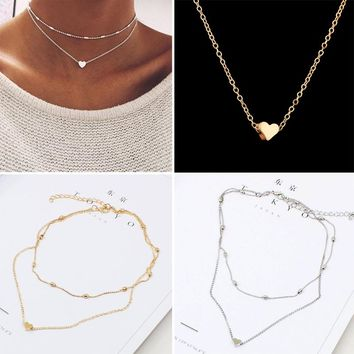 Women Love Heart Pendant Multilayer Necklaces Simple Fashion Beads Chain Jewelry Accessories Girls Exquisite Dainty Beach Choker